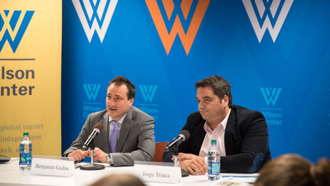 Director of the Wilson Center's Argentina Project, Benjamin Gedan (left), and Labour Minister Jorge Triaca (right).
