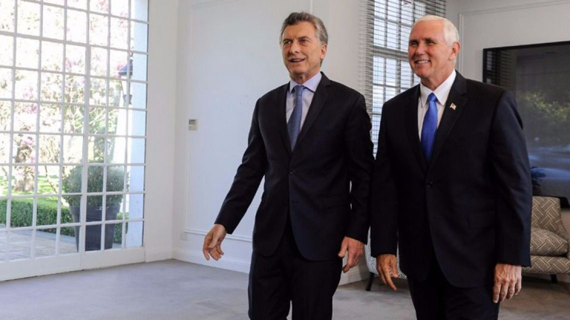 President Mauricio Macri will meet with US Vice-President Mike Pence at the Summit of the Americas in Peru this weekend.