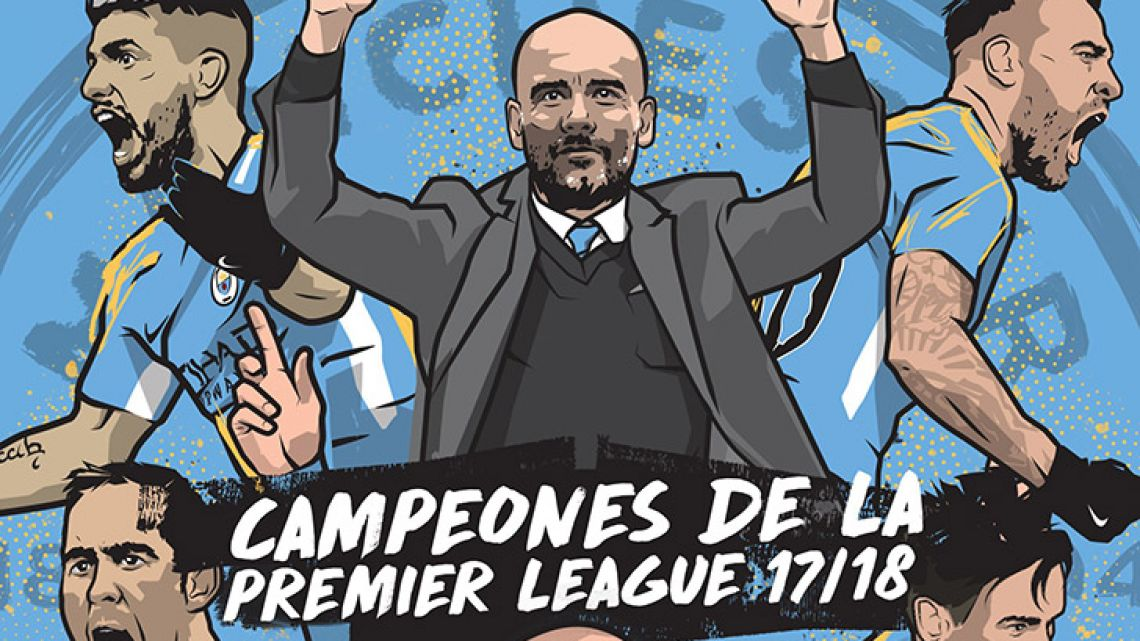 Manchester City's Spanish-language Twitter account celebrates the team's title victory.