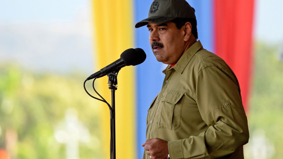 Venezuelan President Nicolás Maduro delivers a speech during a military parade in Caracas.