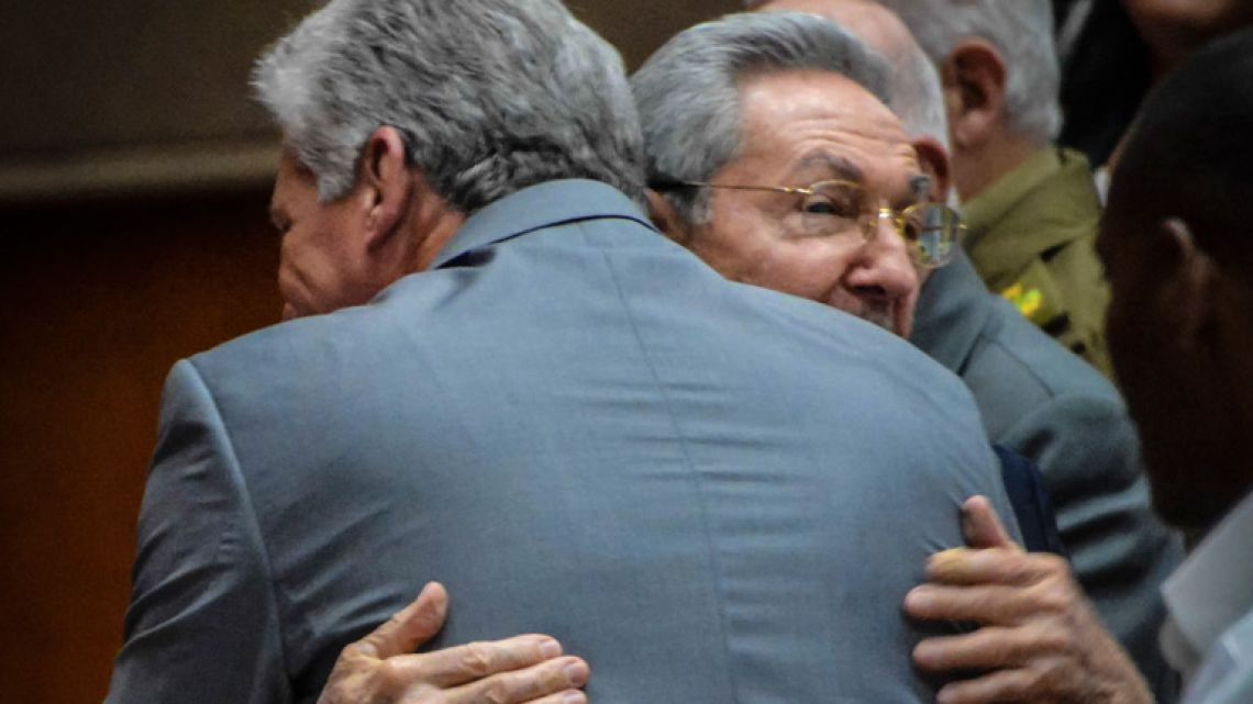 Cuban President Raúl Castro (right) embraces First Vice-President Miguel Díaz-Canel after he was named as the candidate to succeed him as president, during a National Assembly session in Havana on April 18, 2018.