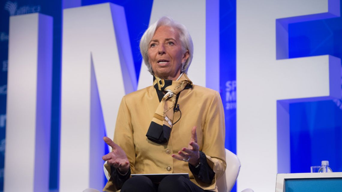 "IMF Managing Director Christine Lagarde moderates a discussion on ""Reforming the Euro Area: Views from Inside and Outside of Europe,"" during the 2018 Spring Meetings of the International Monetary Fund and World Bank Group at IMF Headquarters in Washington, DC, April 19, 2018."