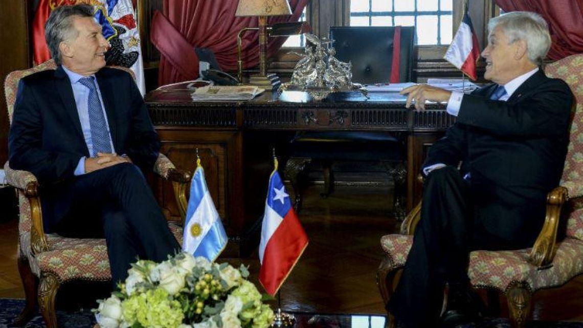 Argentine President Mauricio Macri and Chilean President Sebastián Piñera.