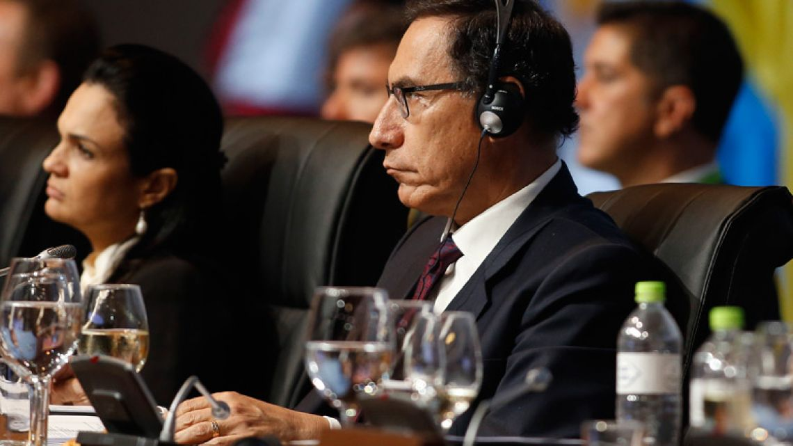 Peru's President Martín Vizcarra attends the plenary session at the Summit of the Americas in Lima.