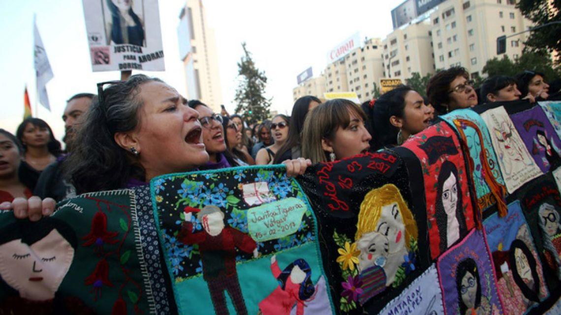 Chilean women rally in Santiago on International Women's Day.