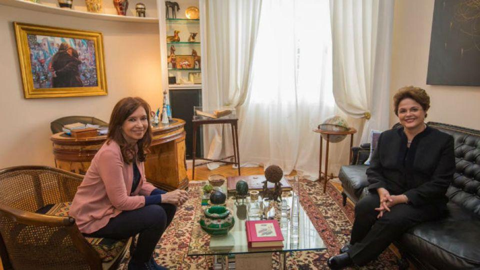 Cristina Fernández de Kirchner junto a Dilma Rousseff.