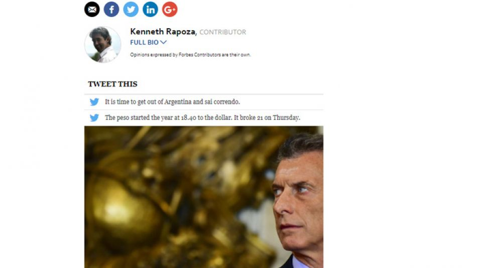 El artículo de Forbes que advierte sobre la economía argentina