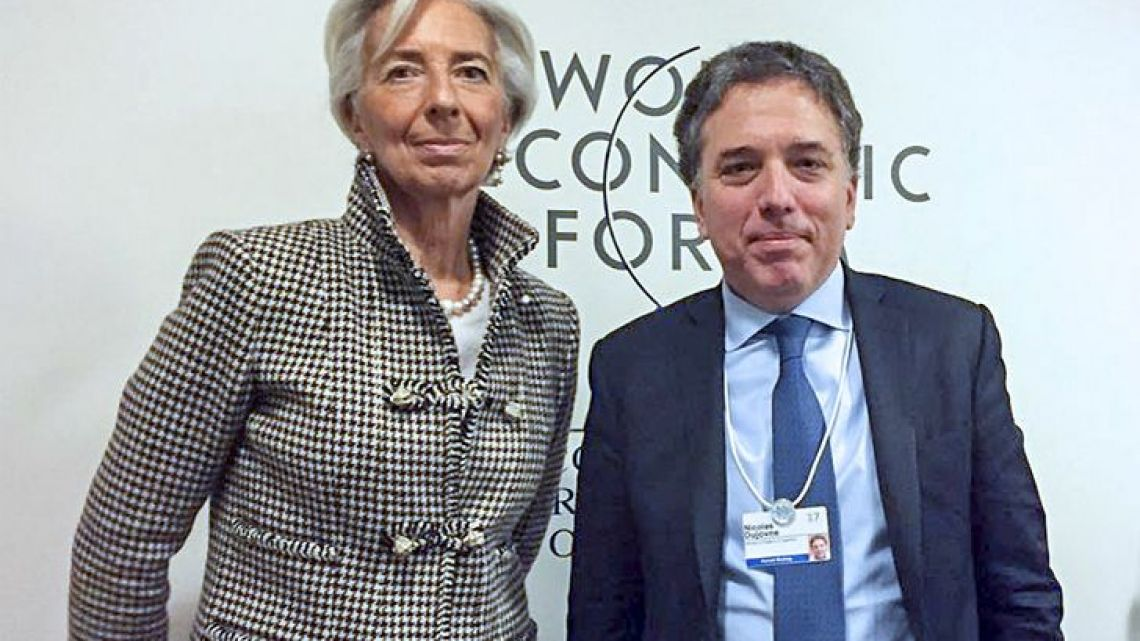 IMF chief Christine Lagarde with Argentine Treasurer Nicolas Dujovne.