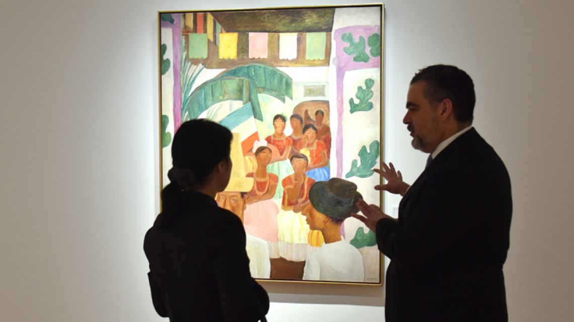 """The Rivals"" by Diego Rivera is seen during a Christie's preview presenting the collection of Peggy and David Rockefeller, in New York on April 27, 2018."