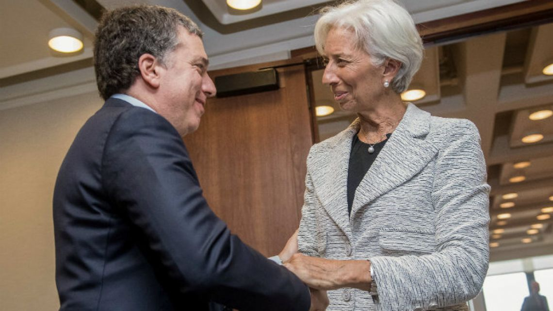 Treasurer Nicolás Dujovne meets with IMF chief Christine Lagarde in Washington.