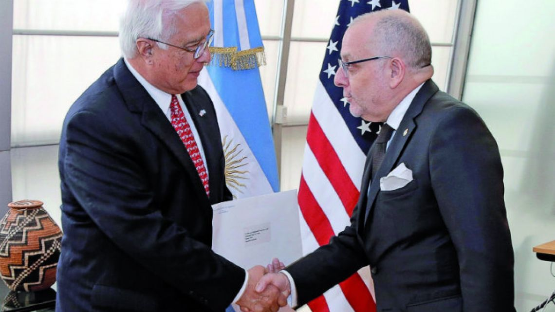 US Ambassador Edward Prado with Argentina's Foreign Minister Jorge Faurie.