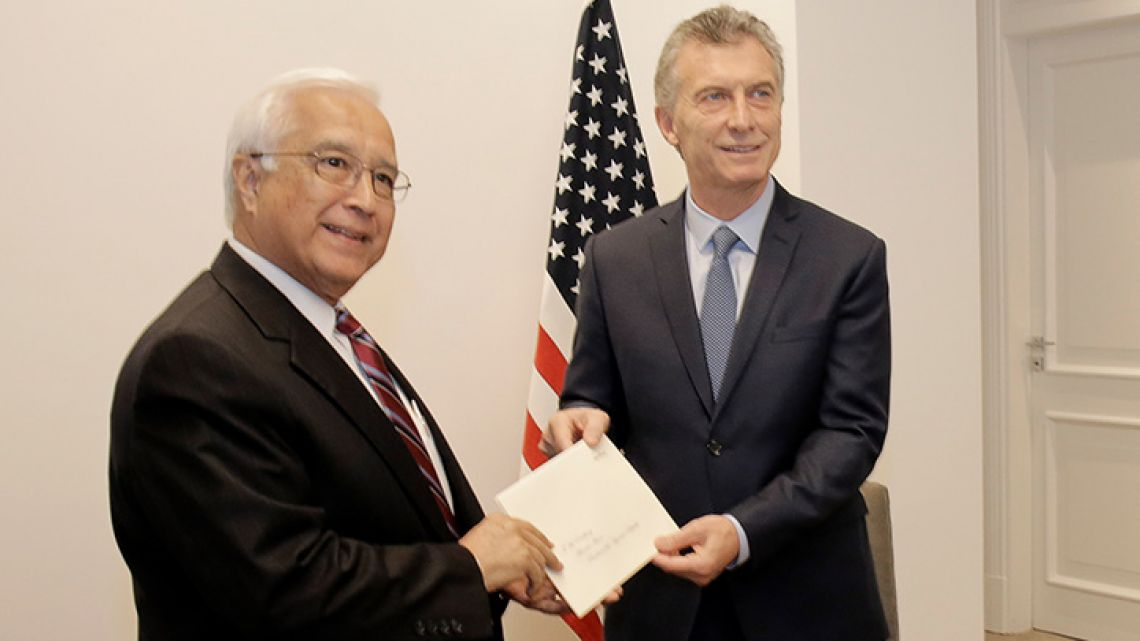 US Ambassador to Argentina Edward Prado presents his credentials to President Mauricio Macri on May 16, 2018.