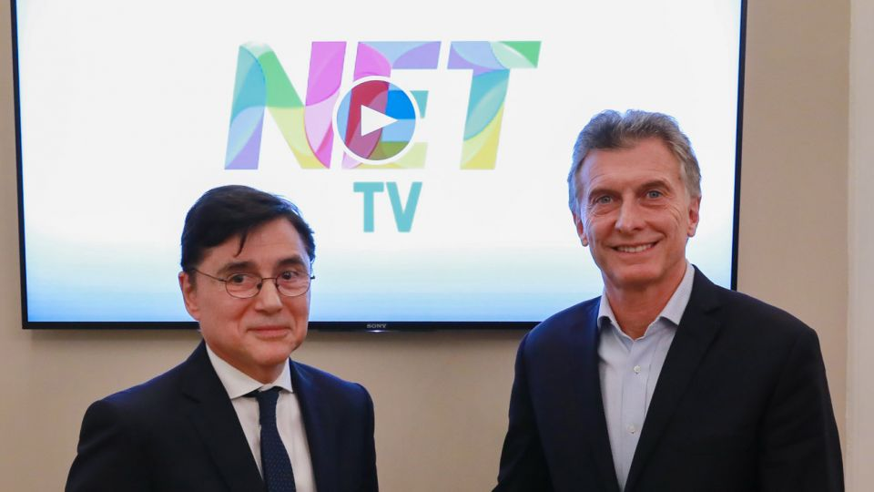 Jorge Fontevecchia visita a Macri por la apertura de Net Tv.