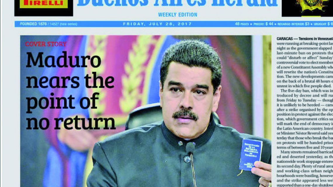 Buenos Aires Herald´s Frontpage
