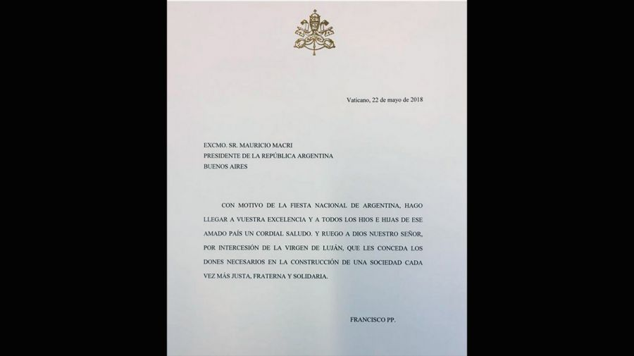 La carta que Francisco le envió a Macri.
