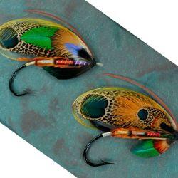 Par de moscas de plumas naturales de Edwin Rist