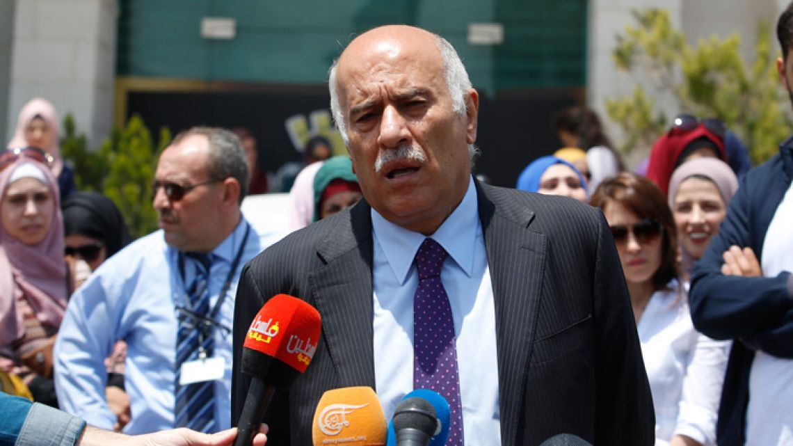 Head of the Palestinian Football Association Jibril Rajoub speaks during a press conference in front of Argentinian representative office in the West Bank city of Ramallah.