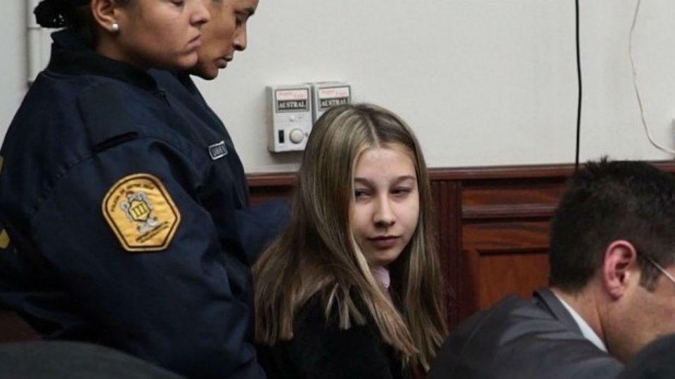 Nahir Galarza durante el juicio.