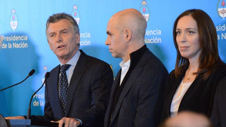 Mauricio Macri junto a Horacio Rodríguez Larreta y María Eugenia Vidal