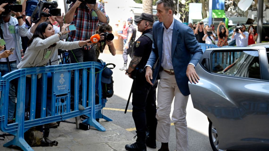 Husband of Spain's Princess Cristina, Iñaki Urdangarin, arrives at a courthouse in Palma de Mallorca, Spain, Wednesday, June 13, 2018. Judicial authorities have informed Urdangarin, the brother-in-law of Spain's King Felipe VI that he has to enter prison within five days to serve a sentence of five years and 10 months for fraud and tax evasion, among other crimes.