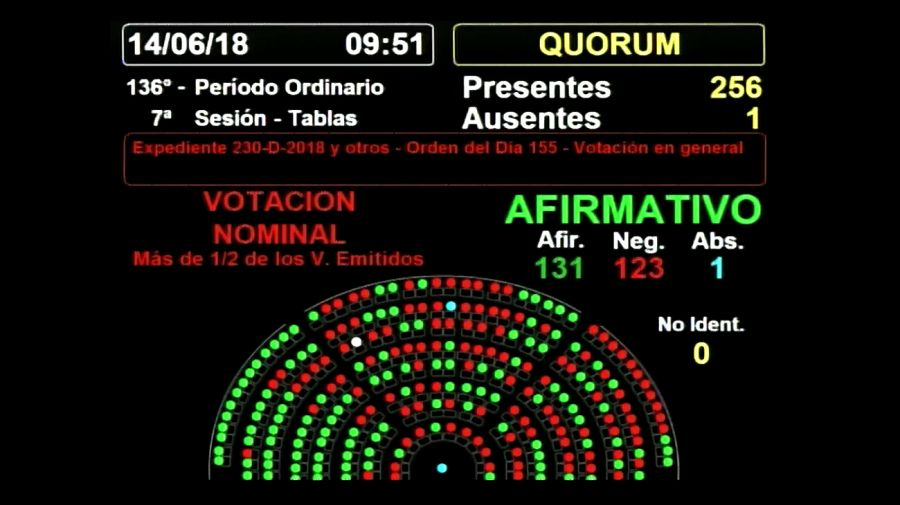 La votación en la Cámara de La votación en la Cámara de Diputados al principio arrojó 131 votos a favor y 123 en contra.