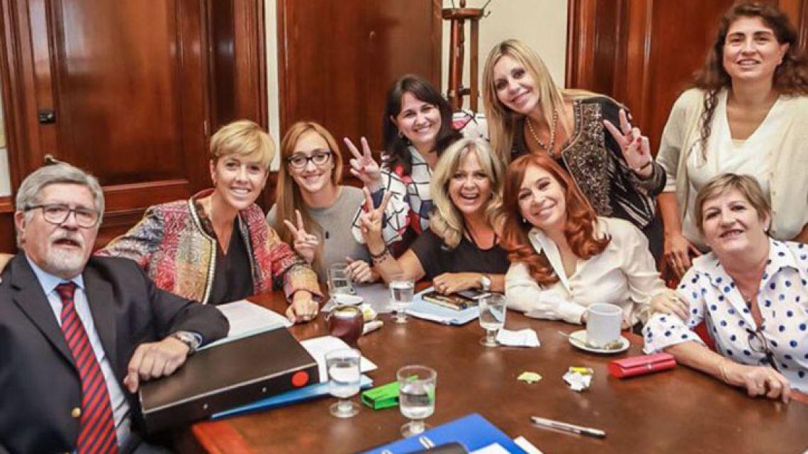 Senator Cristina Fernández de Kirchner and her Senate colleagues.