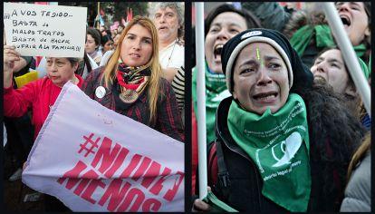 A La Izquierda tenemos una imagen de la marcha de ni una menos en 2015 y a la derecha la emoción luego de la  aprobación en diputados de la ley por el aborto legal.