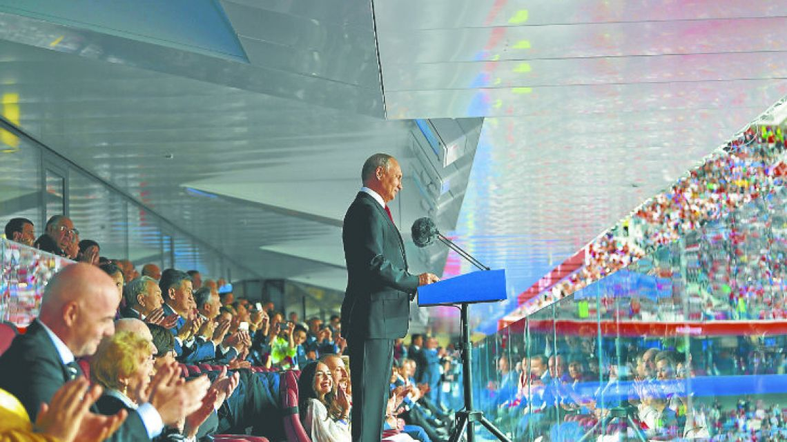 Putin delivers a speech before the Russia 2018 World Cup opening match between Russia and Saudi Arabia.
