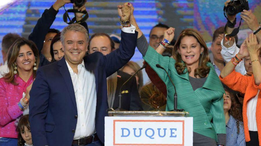 Iván Duque junto a su candidata a la vicepresidencia, Marta Lucía Ramírez