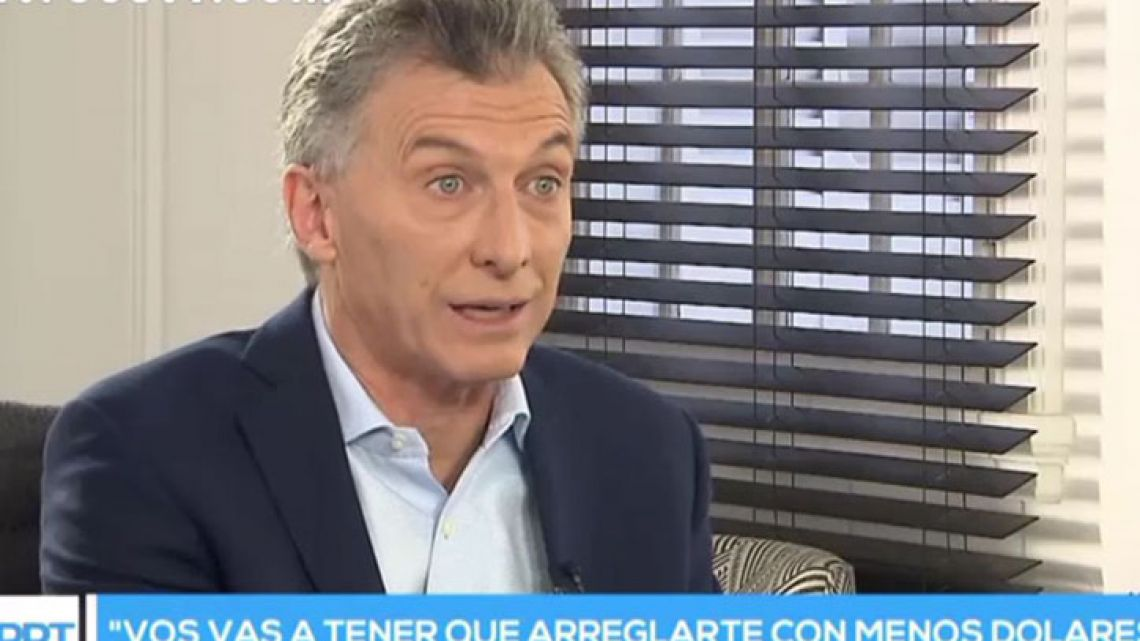 President Mauricio Macri speaks with journalist Jorge Lanata on Sunday June 17, 2018.