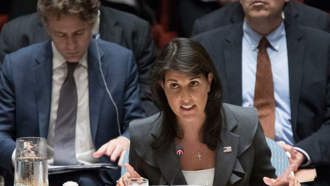 US Ambassador to the United Nations Nikki Haley.