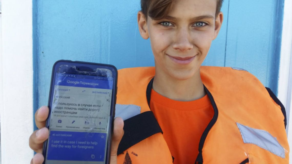Marat Gurjan, a 15-year-old lifeguard from Samara, poses for a picture.