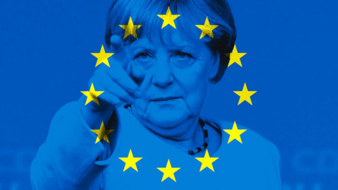Angela Merkel and the EU flag.