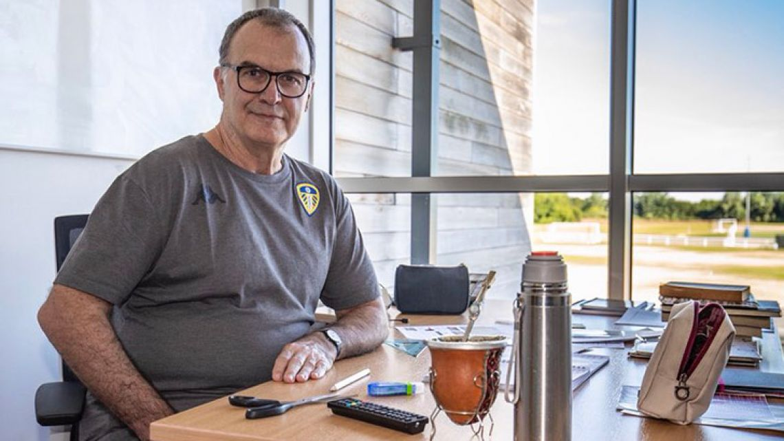 Marcelo Bielsa, pictured in his new office, on his first day as manager of Leeds United Football Club.