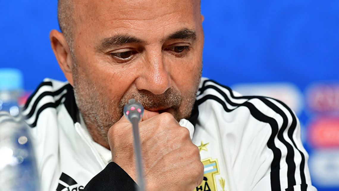 Jorge Sampaoli, pictured at a press conference at the Saint Petersburg Stadium in Saint Petersburg.