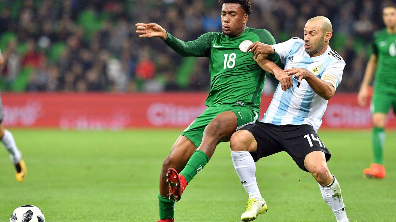 Argentina en el ultimo encuentro contra Nigeria