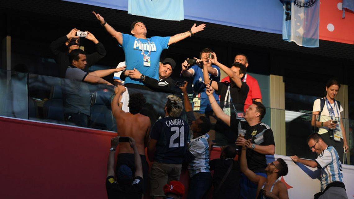 Diego Maradona, pictured ahead of the Russia 2018 World Cup Group D football match between Nigeria and Argentina at the Saint Petersburg Stadium on June 26, 2018.