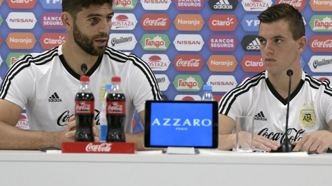 Federico Fazio (left) and Giovani Lo Celso speak during a press conference at Argentina's base camp in Bronnitsy, near Moscow.