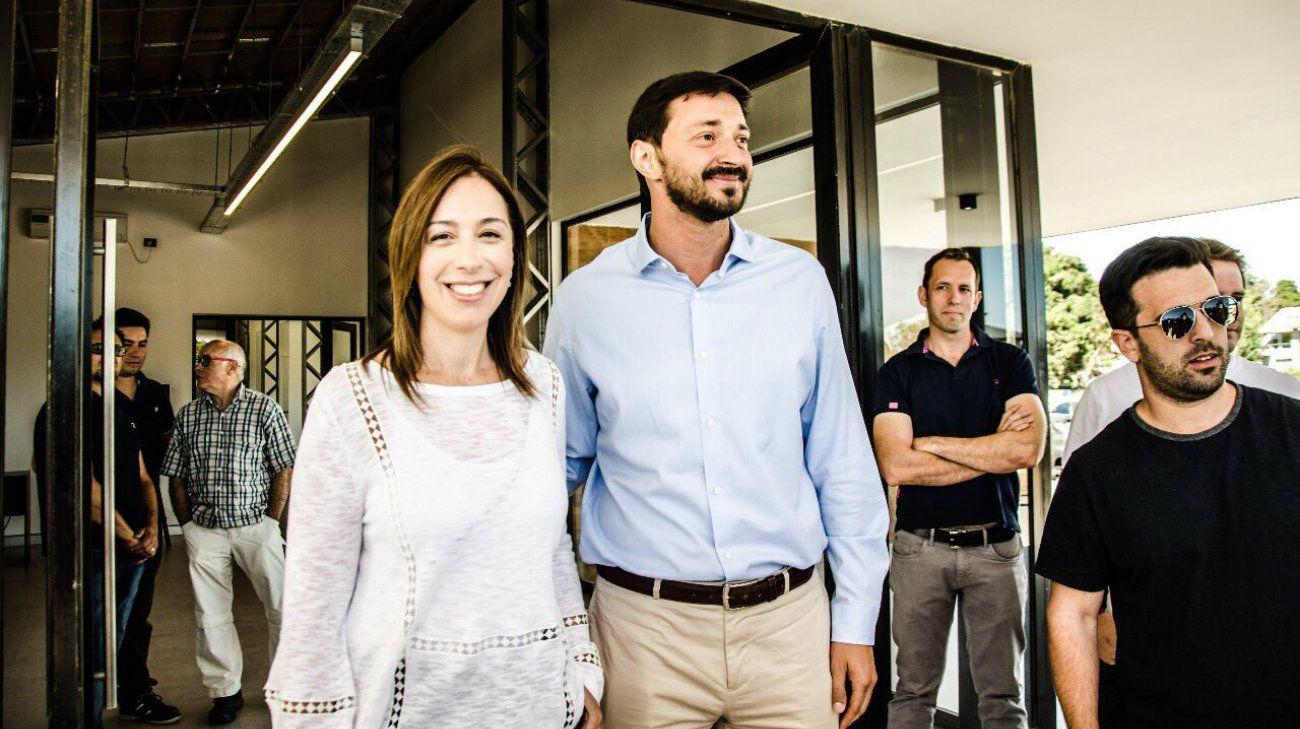 La gobernadora bonaerense, María Eugenia Vidal, junto al intendente de Pinamar, Martín Yeza.