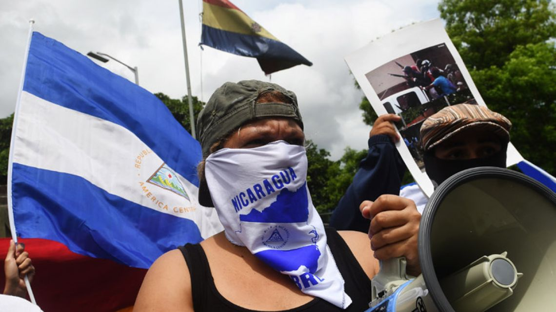 Leaders of anti-government demonstrators, including neighbourhood, student and peasant groups, give a press conference to denounce the use of excessive force by the police and paramilitary in the repression used against them in the last two months of protests against Nicaraguan President Daniel Ortega that have left more than 200 people dead.