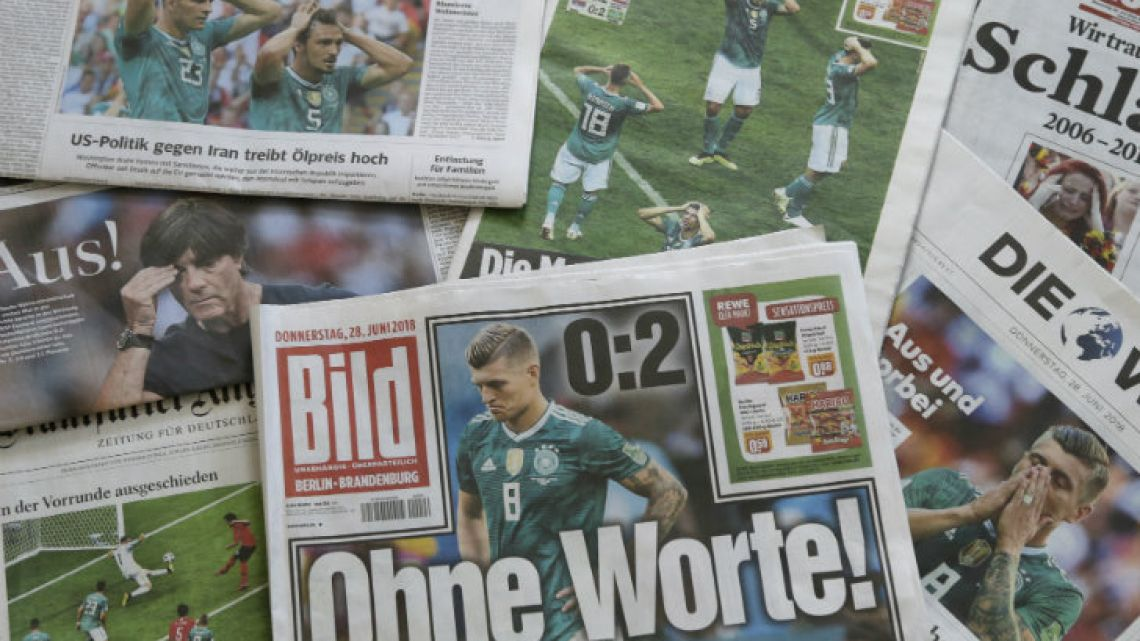 German newspapers in Berlin react to Germany's elimination at the group stage of the World Cup.