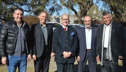 CUMBRE. Daniel Salibi, el rabino Bergman, Pescarmona, el ministro López y el intendente Eduardo Romero, en la presentación de AI-Hydro