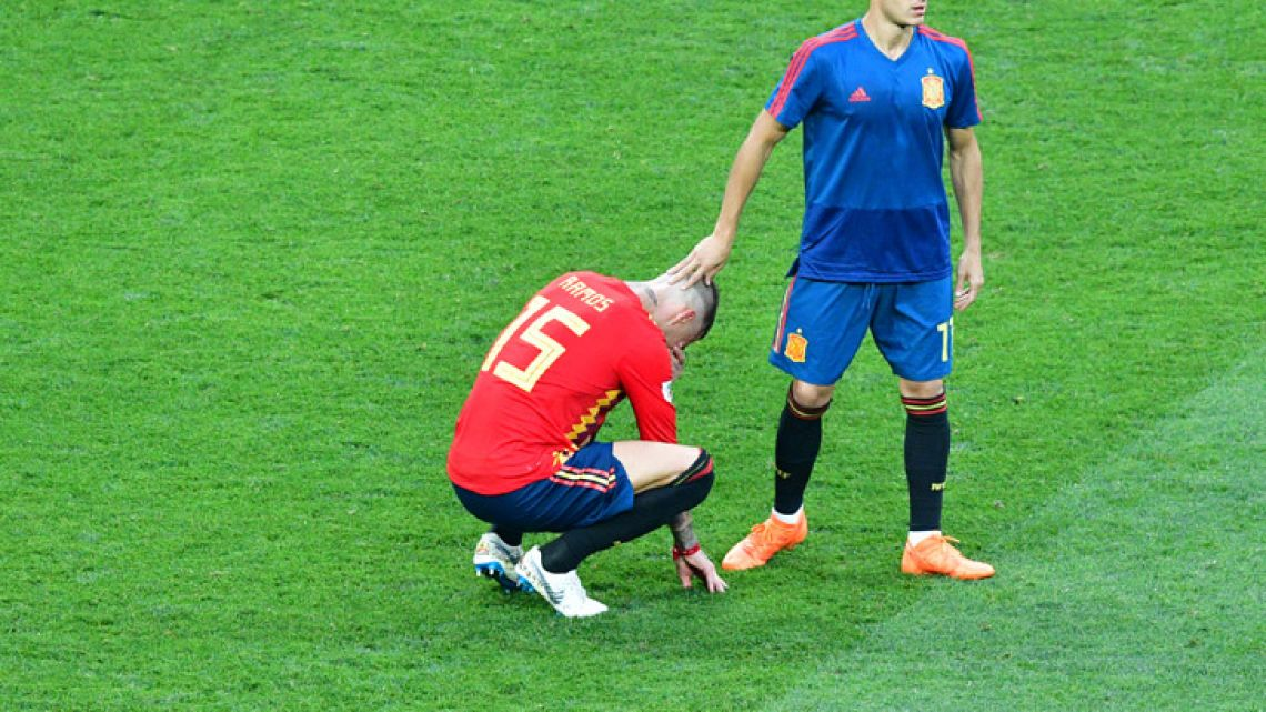 Spain defender Sergio Ramos reacts after the loss against Russia.