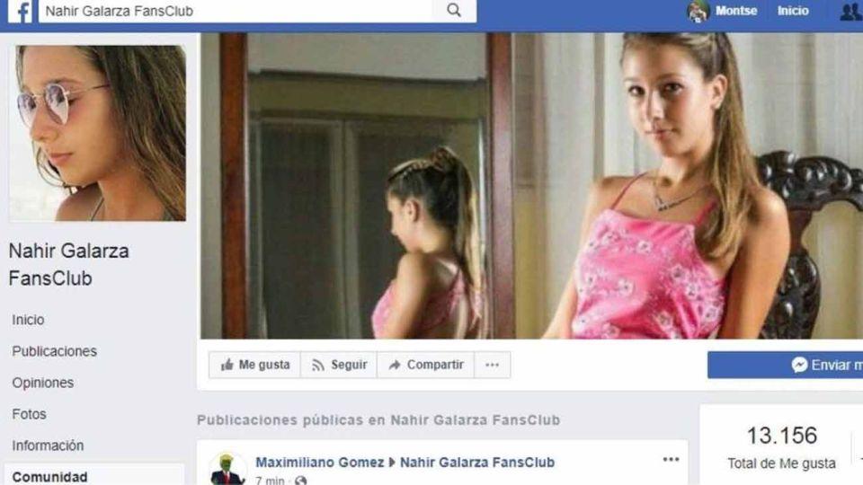Facebook dio de baja el fans club de Nahir Galarza.