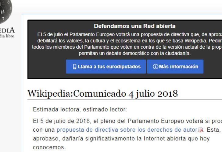La portada de Wikipedia en la previa del debate de la Ley de Copyright en Europa.
