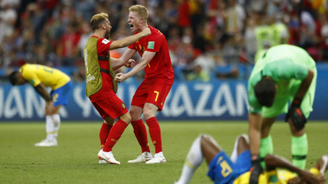 Belgium's players celebrate after beating Brazil 2-1 in the World Cup quarter-finals.