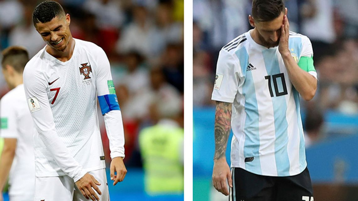 Lionel Messi, right, and Cristiano Ronaldo react during their round of 16 matches respectively against France and Uruguay, at the 2018 World Cup.