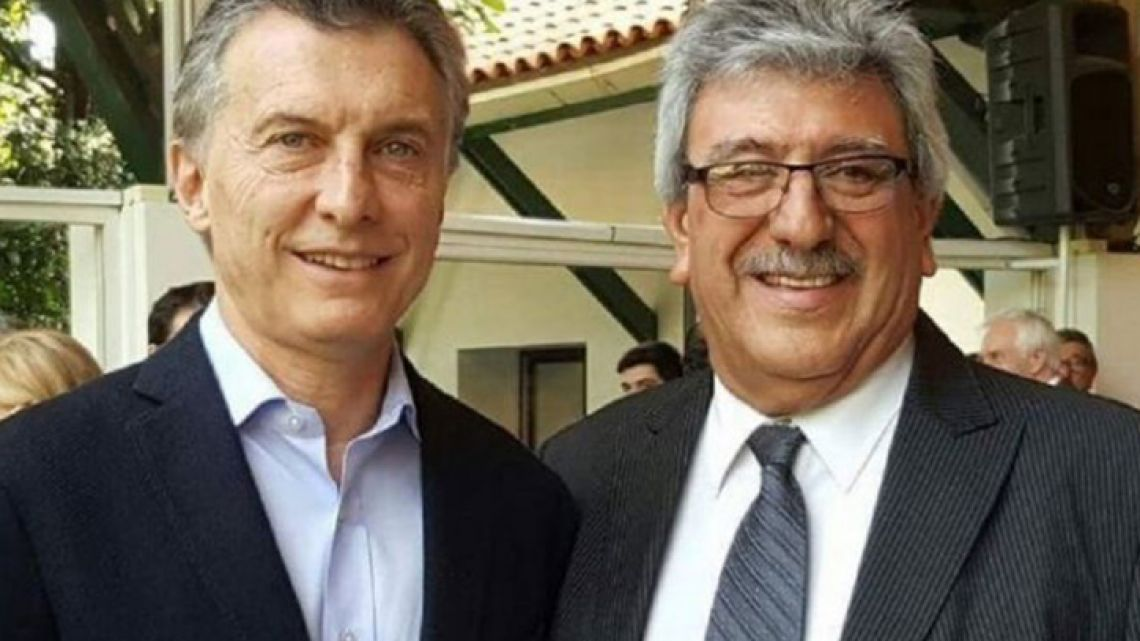 President Mauricio Macri and union leader Ramón Ayala.