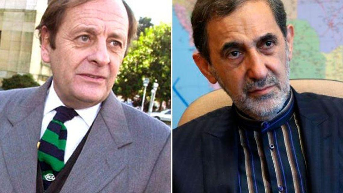 Argentine judge Rodolfo Canicoba Corral (left) and former Iranian foreign minister Ali Akbar Velayati.