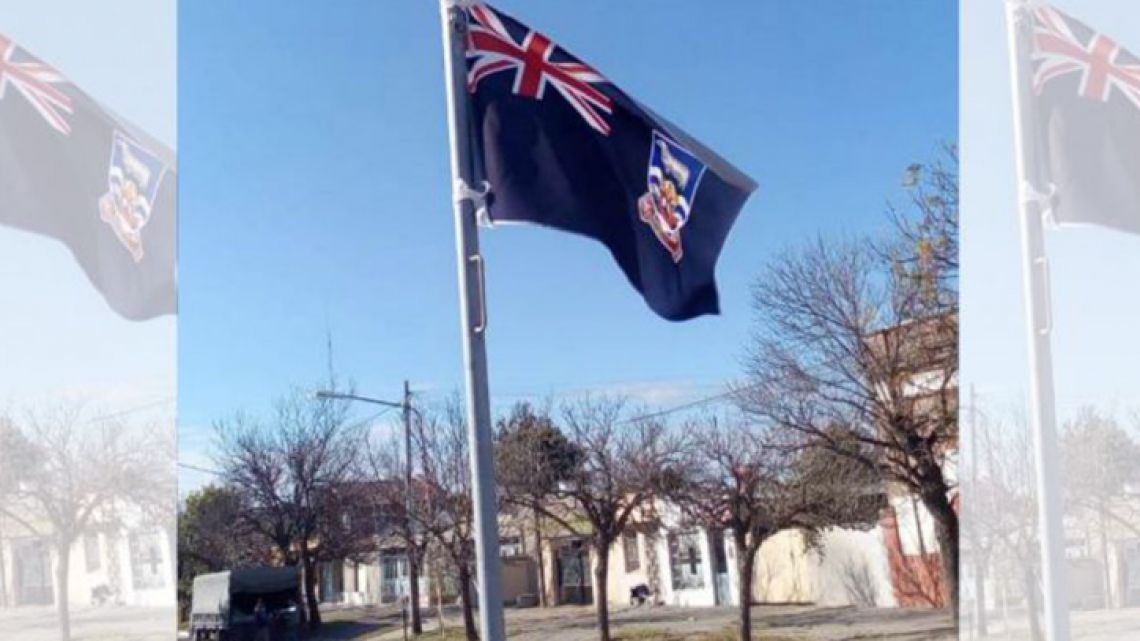 The Malvinas Flag flying high in Ceres, Santa Fe province.